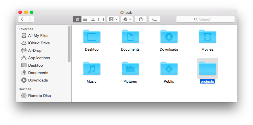 Screenshot of a 'projects' folder in the mac home folder