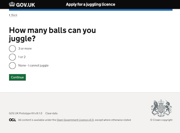 The 'How many balls you can juggle?' question with 4 answers: '5 or more', '3 or 4', '1 or 2' and 'None - I cannot juggle'